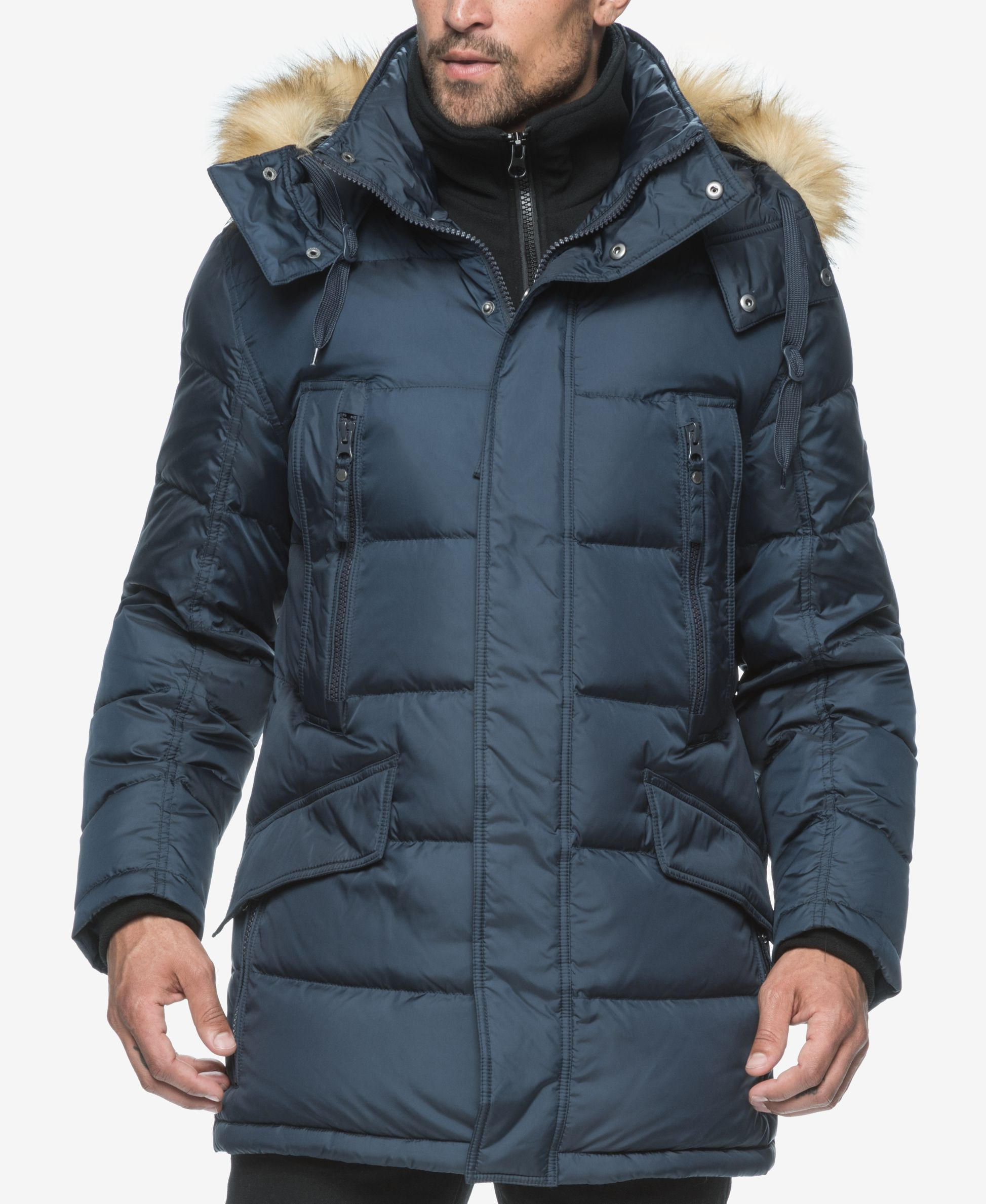 Marc New York Men S Hancock Quilted Down Parka Faux Fur Parka New York Mens Down Parka [ 2378 x 1947 Pixel ]