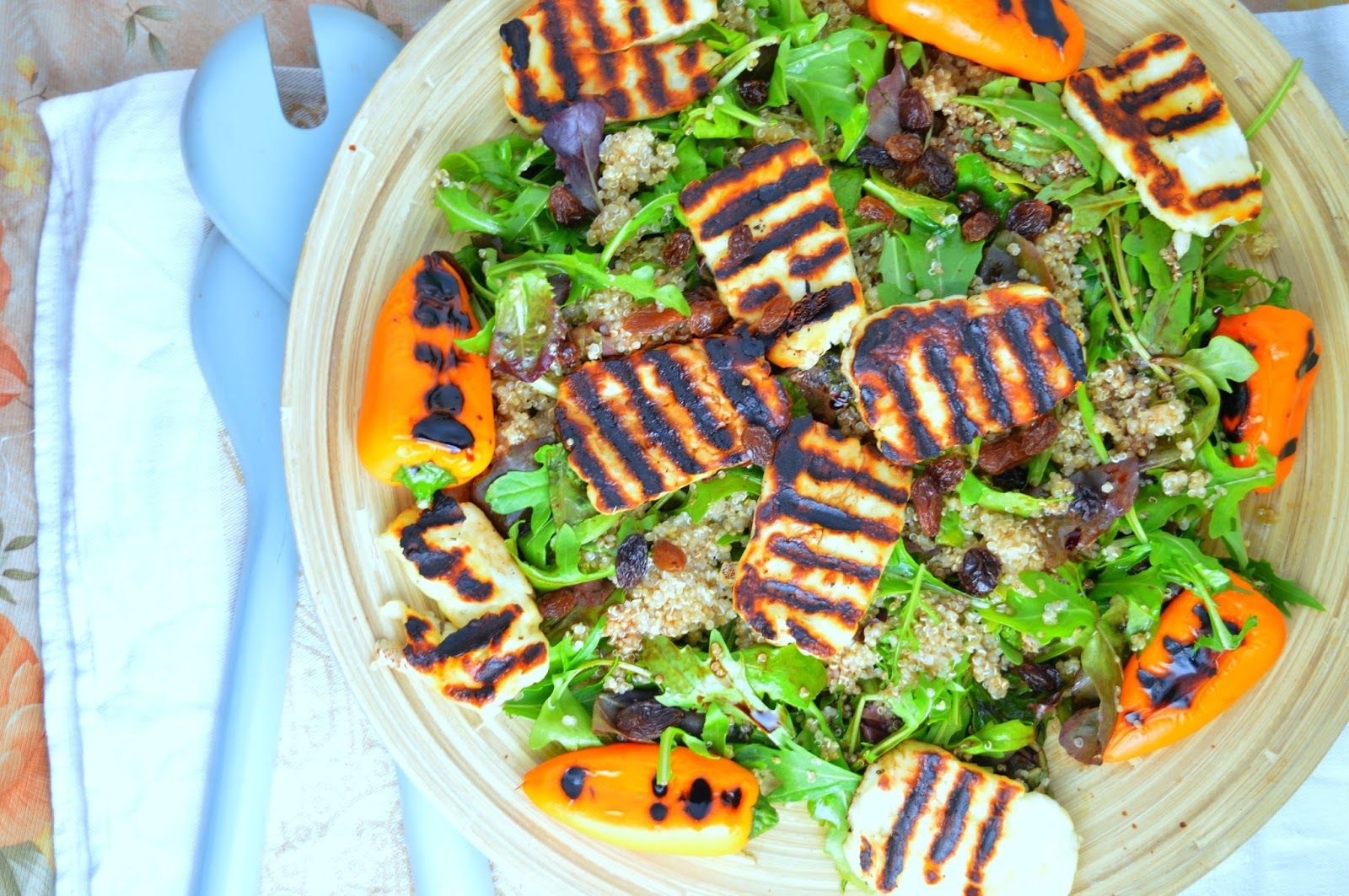 Grilled Halloumi & Sweet Baby Peppers Quinoa Salad with Raisins
