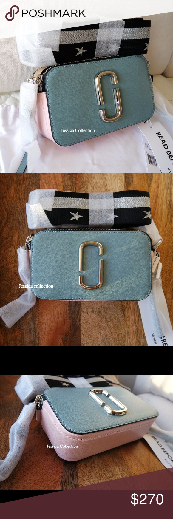 384196d91311b Marc Jacobs Dolphin Blue Snapshot Camera Bag 100% Authentic and NWT,  crafted in saffiano