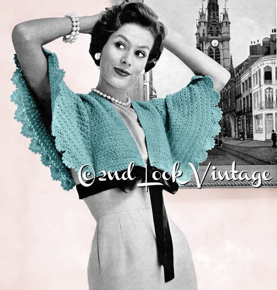Vintage Crochet Pattern 1950s Cape Sleeve Bolero Shrug Digital ...