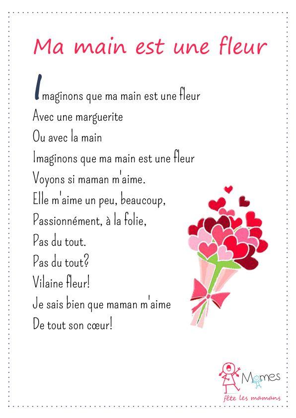 Ma Main Est Une Fleur Texte Pour Maman Poème Fête Des