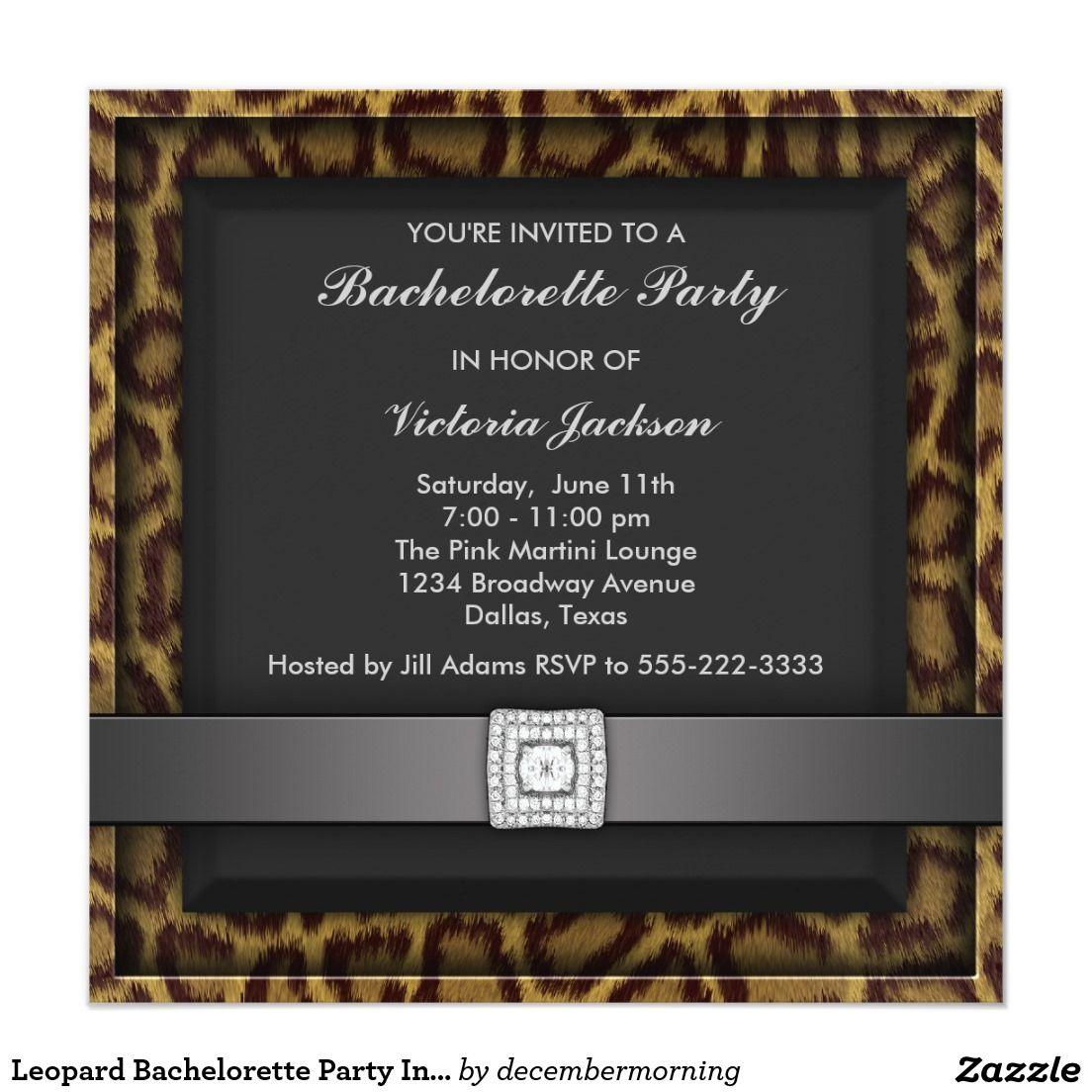 Leopard Bachelorette Party Invitation | Bachelorette parties and ...