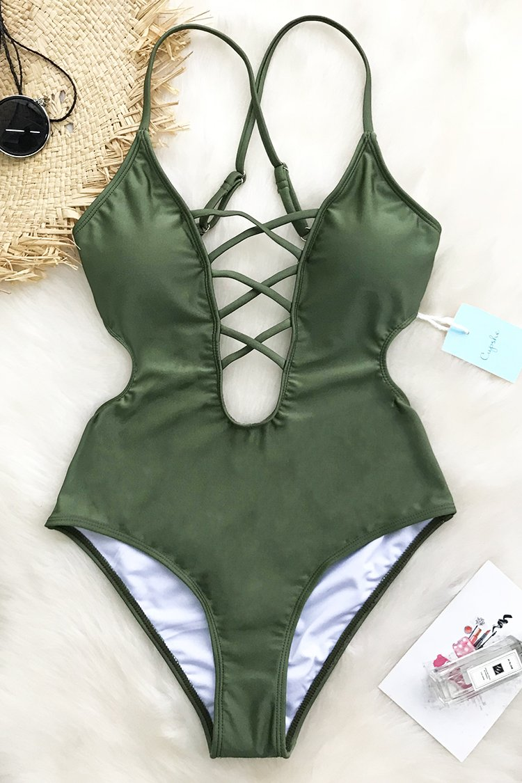 8e989588fdc Cupshe Good Time Lace Up One-piece Swimsuit | Heels | Swimsuits, One ...