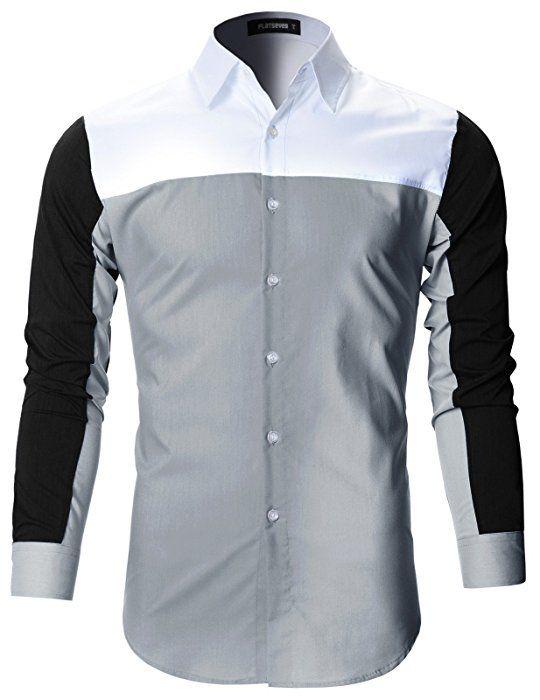 8e2b96003c FLATSEVEN Mens Premium Slim Fit Casual Solid Stretch Shirts (SH165) Pink