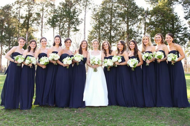 Bridesmaids Navy Blue Bridesmaid Dresses Long Dresses White Bouquets