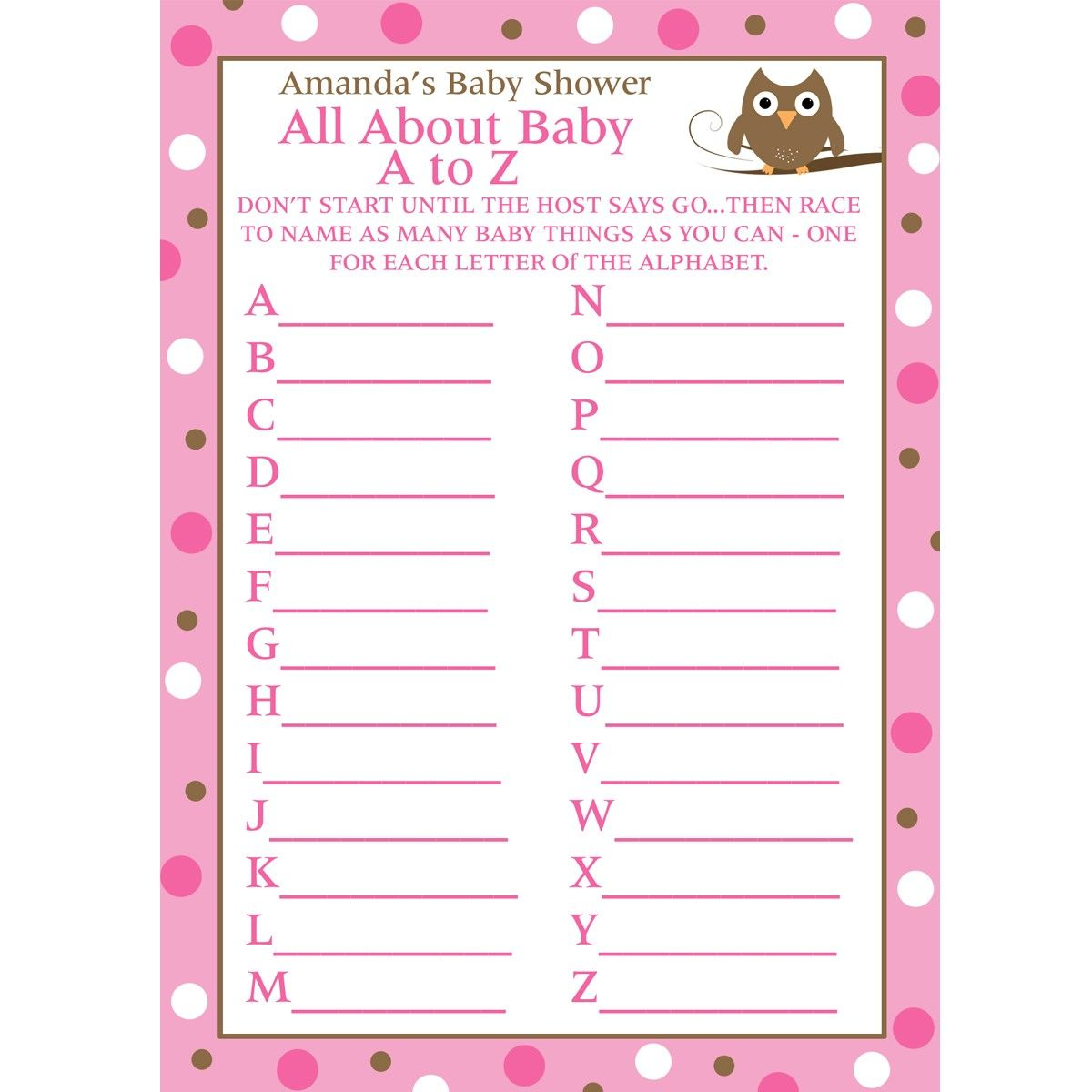 24 Personalized Baby Shower A To Z Game Cards Baby Owl Design In