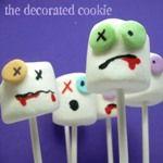 Halloween zombie marshmallow pops
