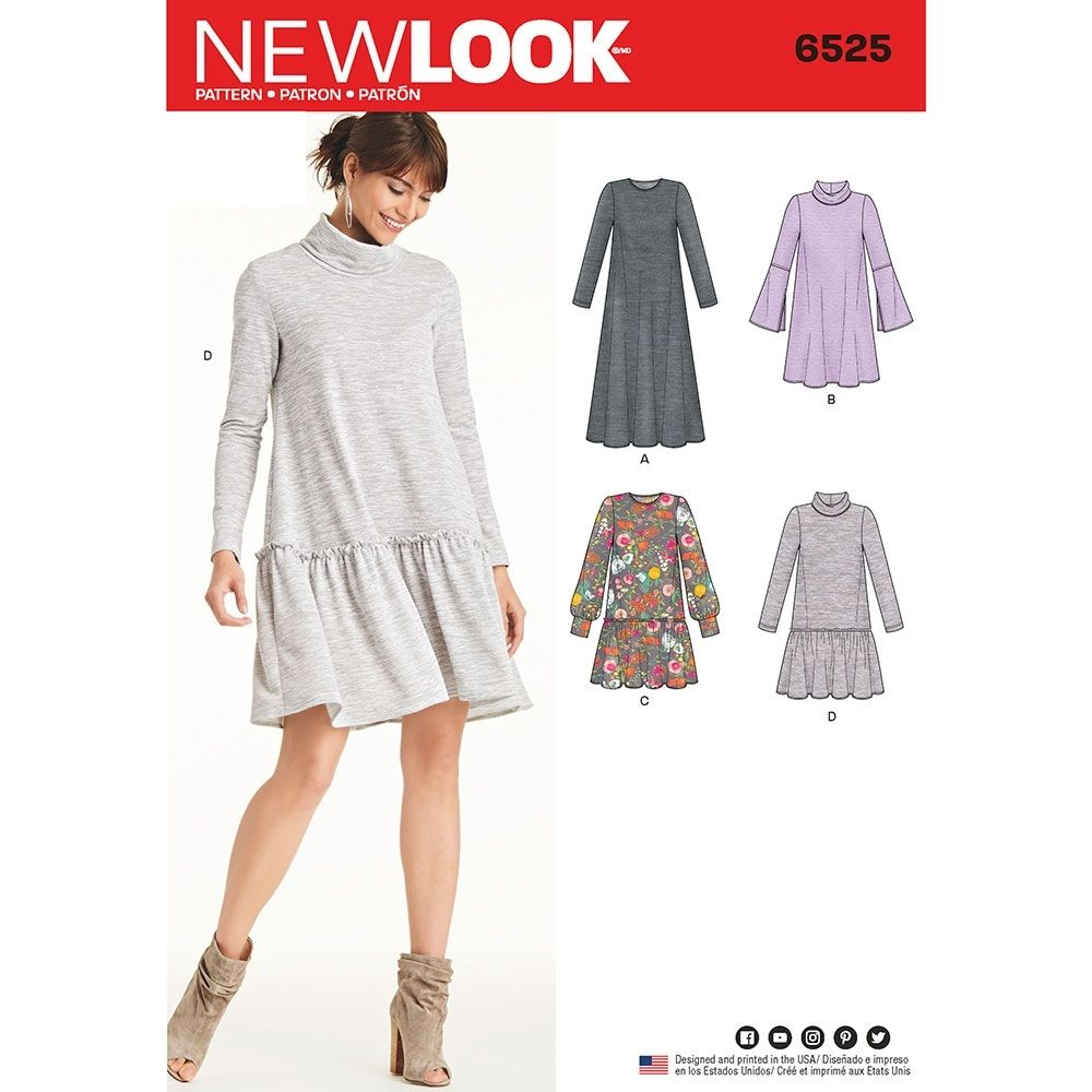 Misses knit dress new look sewing pattern from sew essential