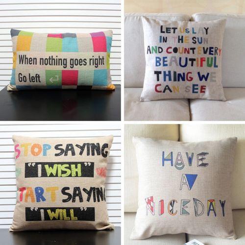 Colorful Letter Word Motto Decorative Cotton Linen Pillow Case Cushion Cover | eBay