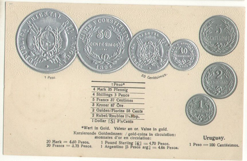 Uruguay Coins Currency Converter Silver Gold Coin Embossed Old Postcard