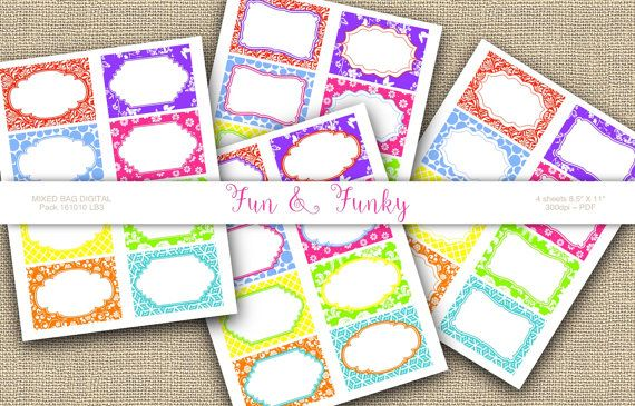Bright Colorful Labels Printable tags Digital by 1stChoiceShop