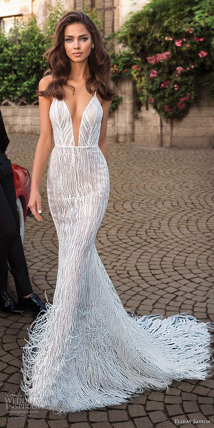 Elihav sasson capsule bridal sleeveless spaghetti strap deep