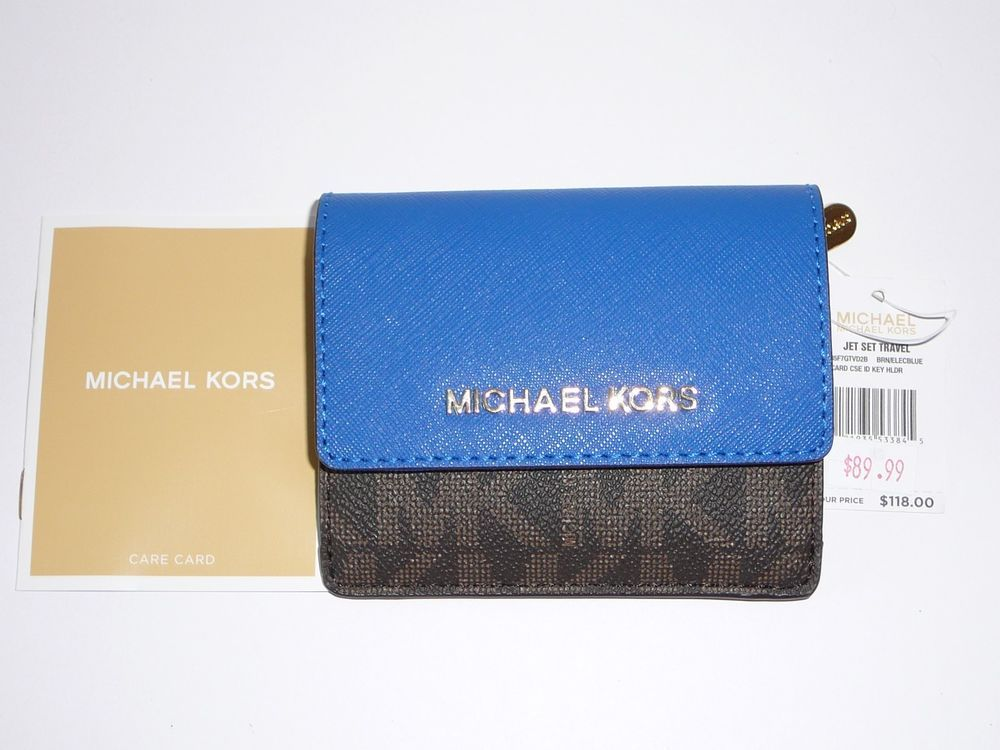 c10cfb757800 Michael Kors Jet Set Travel Card Case ID Key Holder Brown Electric Blue  -NWT #MichaelKors #CoinwalletKeyholders