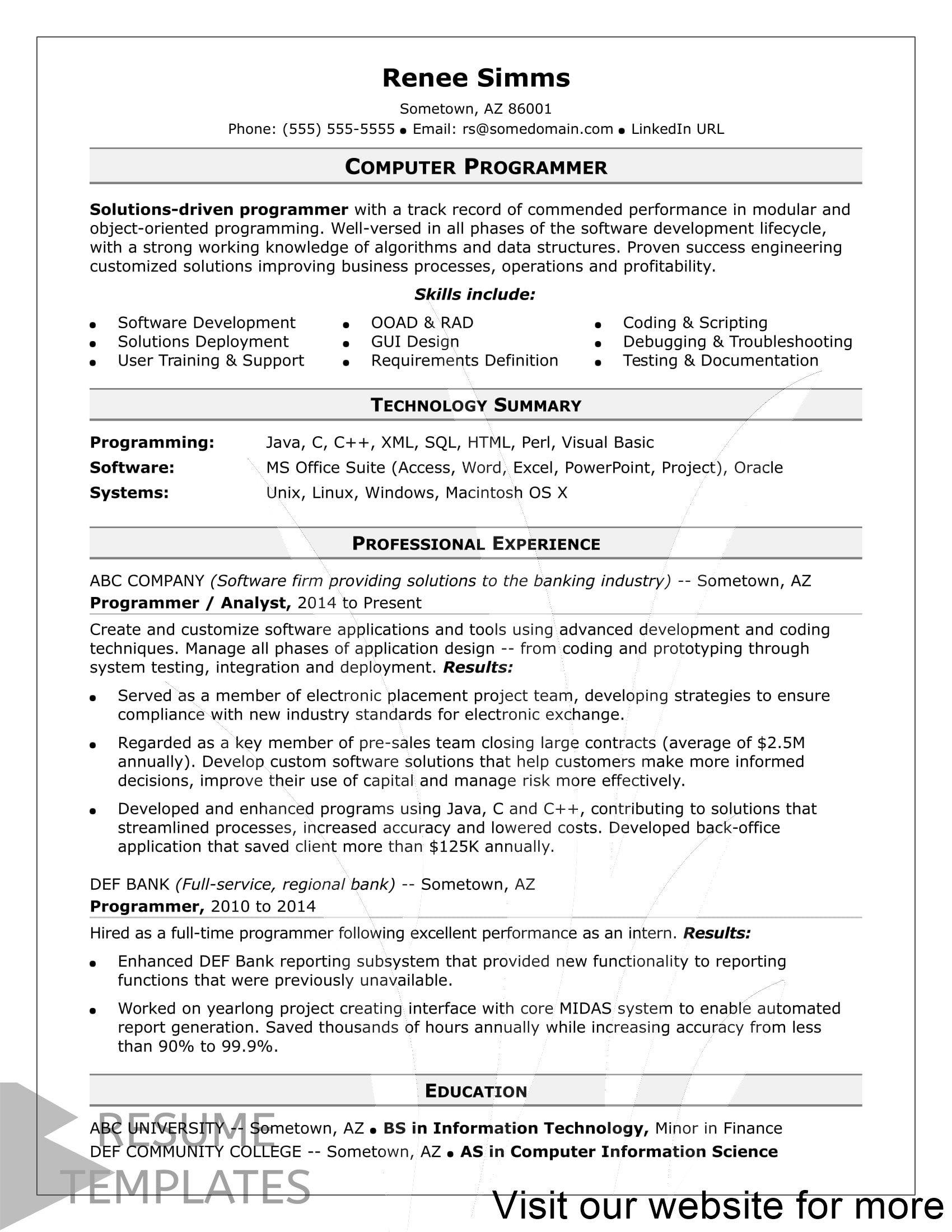 Resume Builder App Free Cv Maker Cv Templates 2020 Computer Programmer Resume Job Resume Template