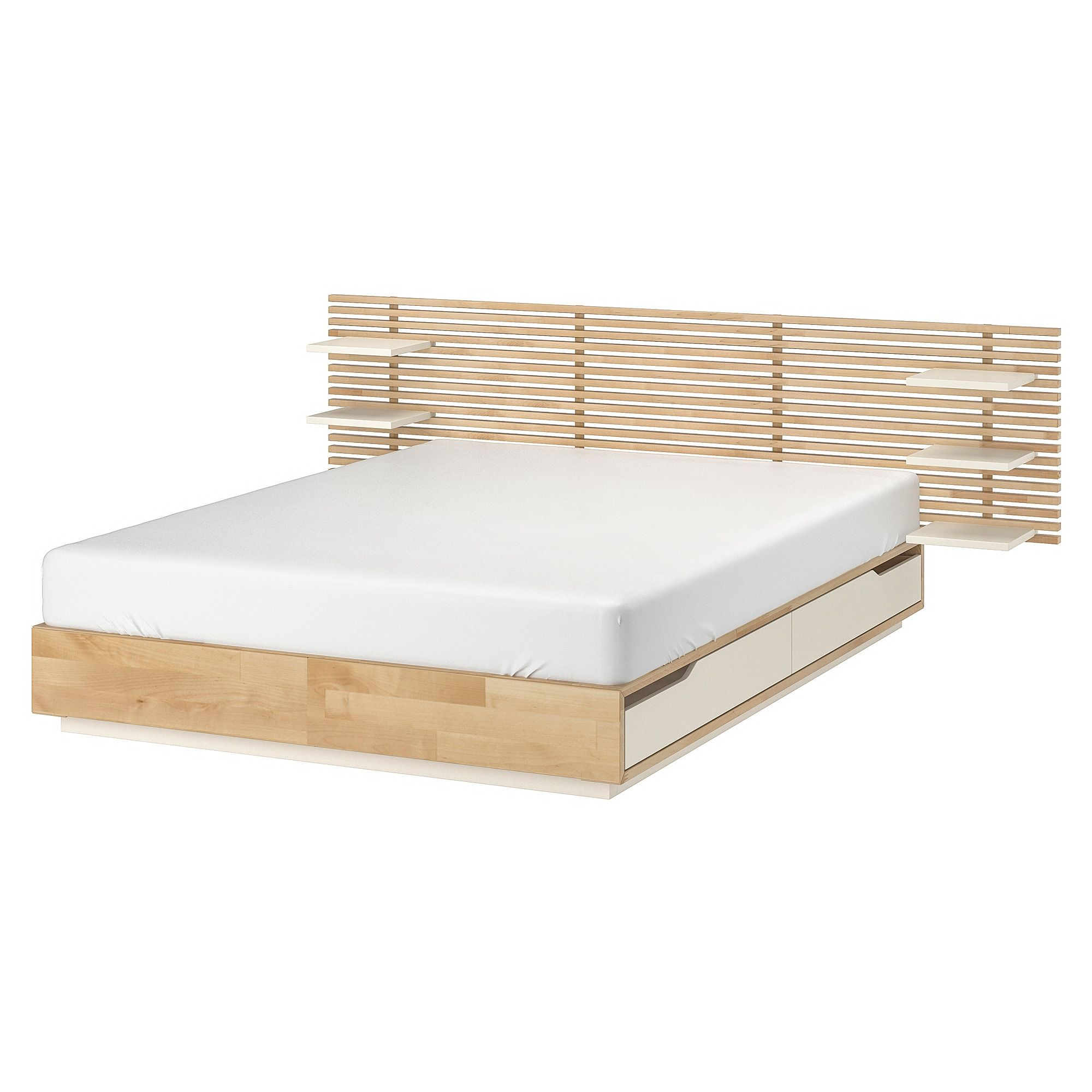 Mandal Structure Lit Avec Tete De Lit Bouleau Blanc 160x202 Cm Ikea Bed Frame And Headboard Mandal Bed Ikea Bed Slats