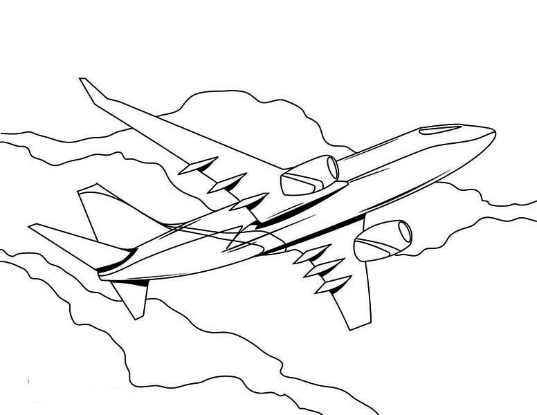 High Altitude Jumbo Jet Airline Plane Coloring Page