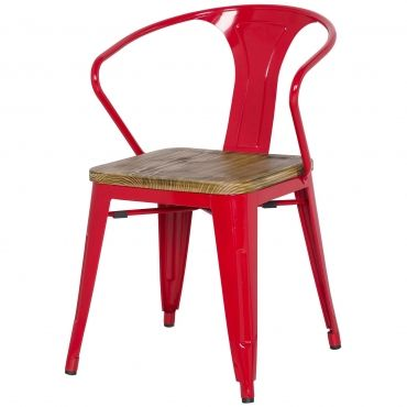 Tolix Metal Arm Chair Wood Seat Red Metal Armchair