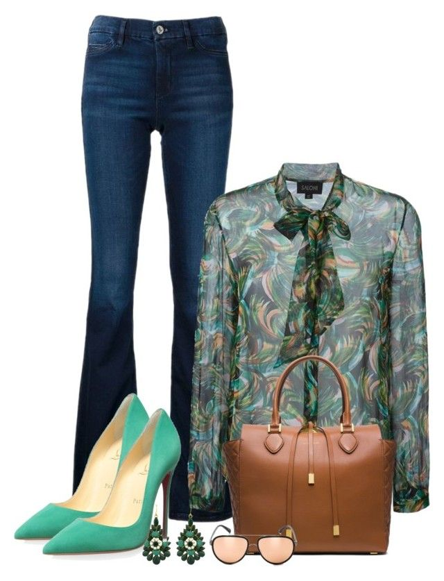 """work wear"" by larycao ❤ liked on Polyvore featuring MiH Jeans, Christian Louboutin, Linda Farrow, women's clothing, women, female, woman, misses and juniors"