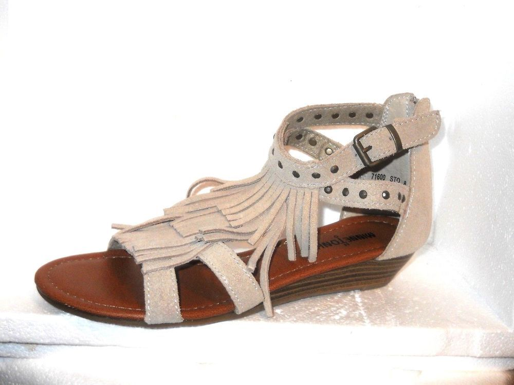 Women s Minnetonka Shoes MONACO Sz.8 Suede Fringe Gladiator Wedge Sandal  NEW  Minnetonka  OpenToe  Casual 5ab69e16cc