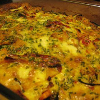Ovenschotel, groente en kaas, volgens voedselzandloper