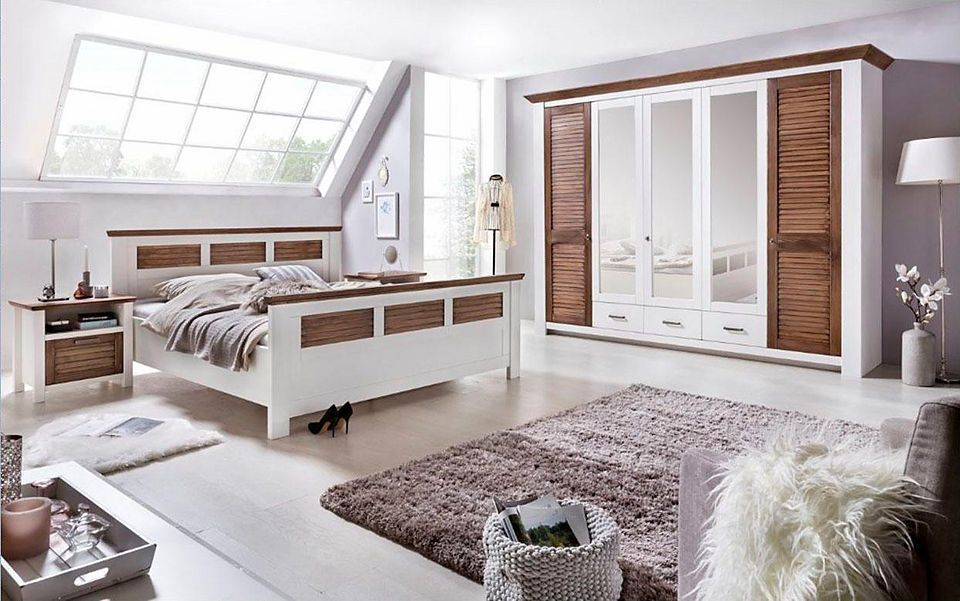 Home affaire Schlafzimmer-Set »Laguna« (4-tlg), mit Lamellentüren - schlafzimmer komplett weiß