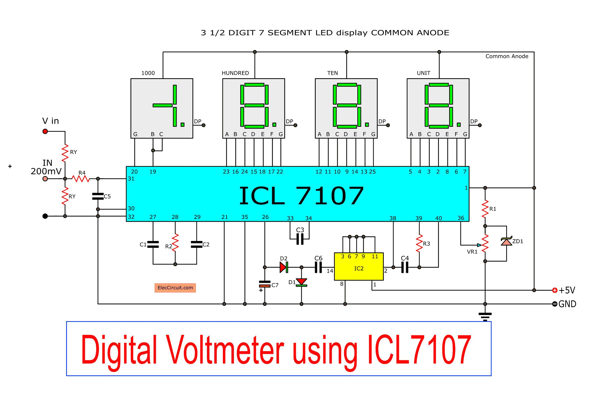 Digital Voltmeter Circuit Diagram Using Icl7107 7106 With Pcb In 2020 Circuit Diagram Electronic Circuit Projects Digital Circuit