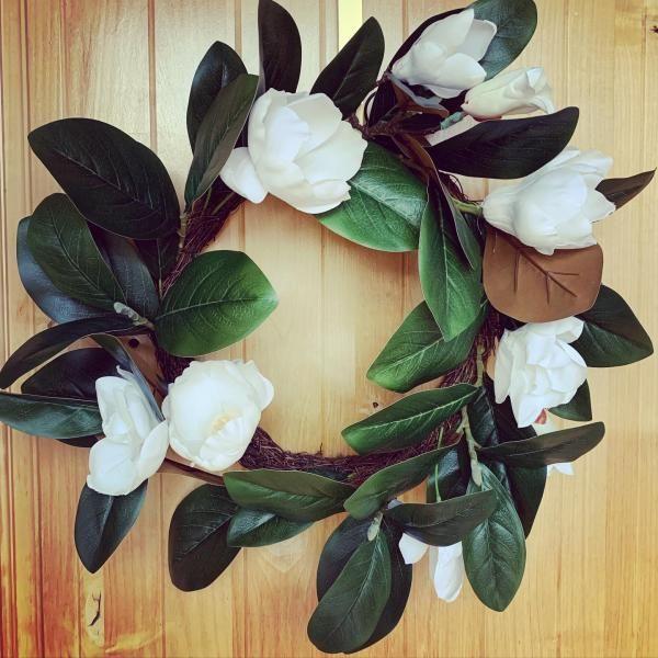 Photo of 18″ Artificial Magnolia Wreath Green/White – Threshold