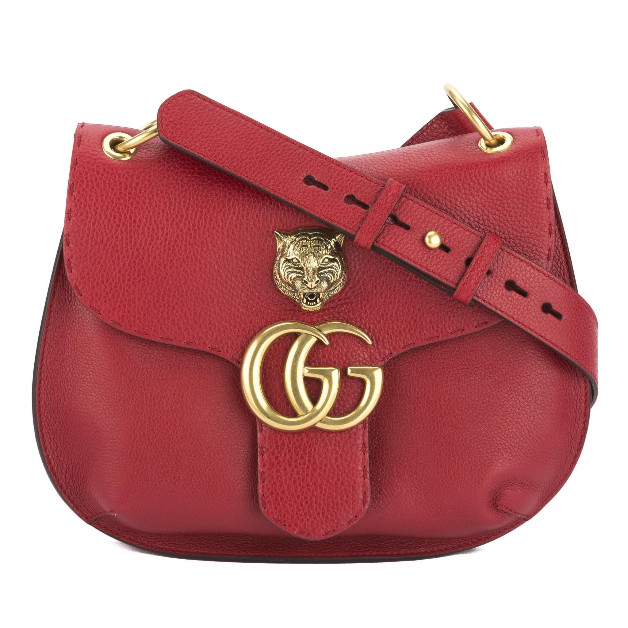 d9b5aef51ff1 Get one of the hottest styles of the season! The Gucci Red Leather Gg  Marmont Shoulder Bag is a top 10 member favorite on Tradesy.