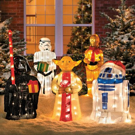 Tinsel Christmas Star Wars Characters With Gift Star Wars