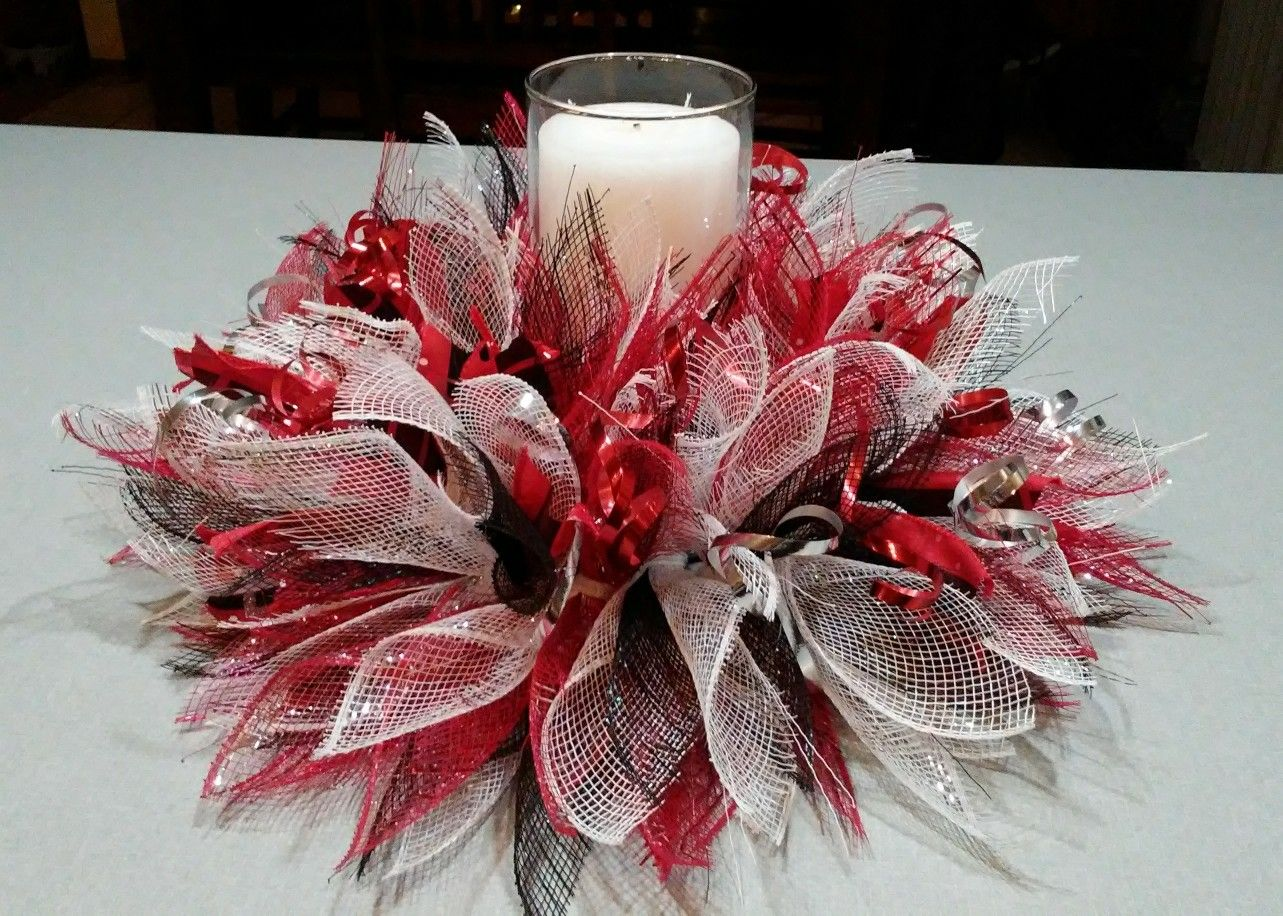 Red White And Black Deco Mesh Centerpiece Candle Ring Deco