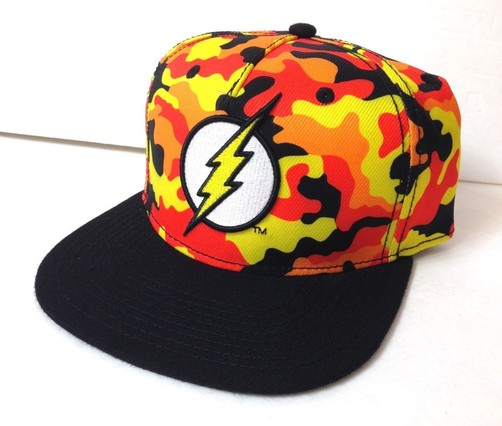 97082549ab6 new THE FLASH SNAPBACK HAT Red Orange Yellow Camo Camouflage Flat Bill  Men Women  DCComics  BaseballCap