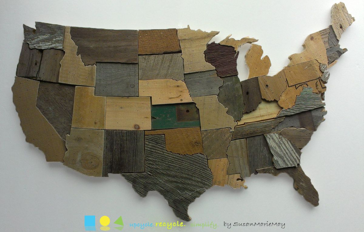 Contiguous USA Map Reclaimed Wood Wall Art State Art United States - How to do us map on pallet