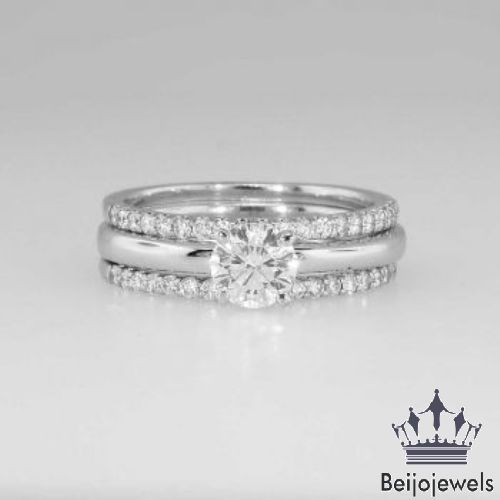 Diamond Solitaire Bridal Set Ladies 10k White Gold Engagement Ring Wedding Band Beij Diamond Engagement Band Band Engagement Ring Engagement Ring Wedding Band
