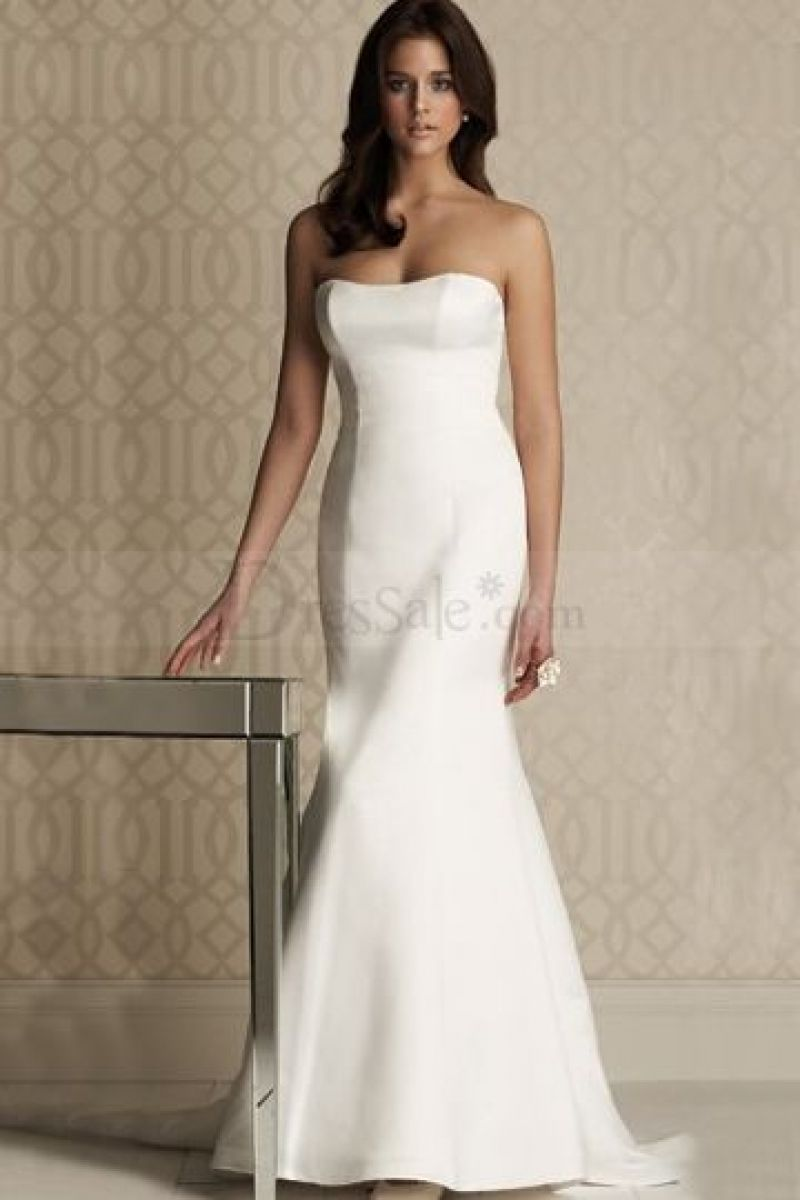 Good Plain White Mermaid Wedding Dress 45 For Your Long Sleeve Inside Dresses