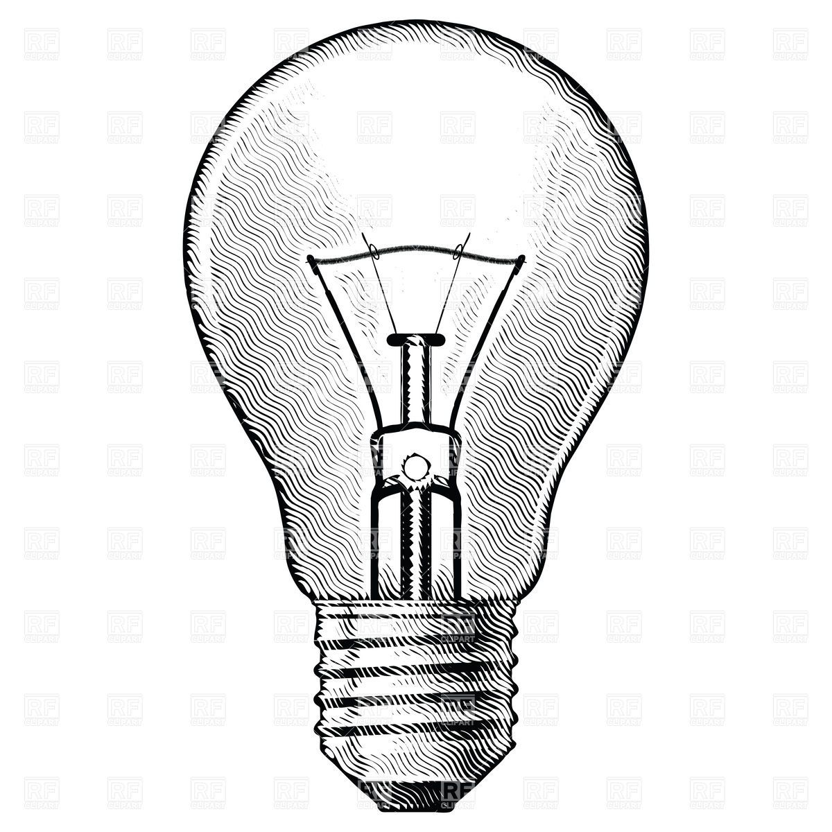 Light Bulbs Drawings: Buy Figure bulbs by Dvarg on GraphicRiver. Figure bulbs. Illustration on  white background. vintage light bulb drawing ...,Lighting