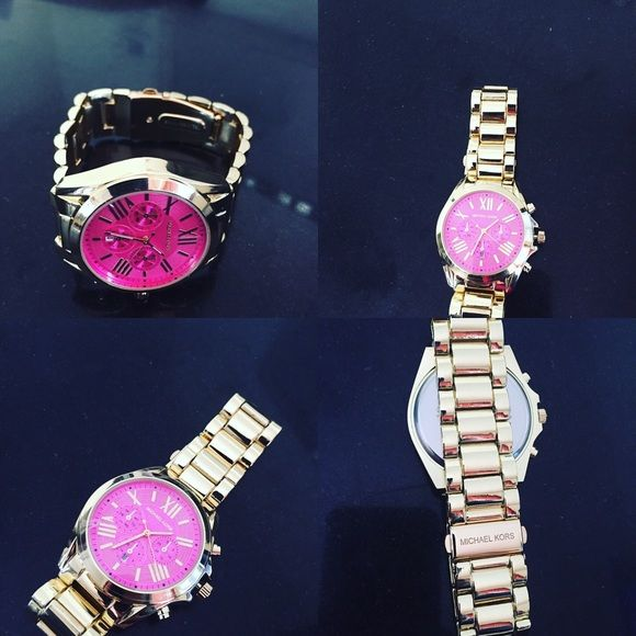 Pink face new womens fashion watch New new new! Fashion named womens watch pink face golden tone. Not a designer! Fast shipping! Michael Kors Accessories Watches