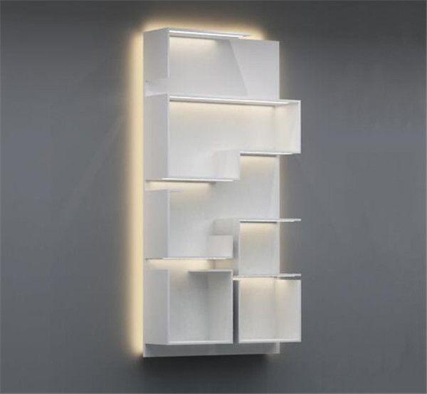 White Retail Store Wall Display Shelving Units For Handbag Display Shelves Wall Display Shelving Unit