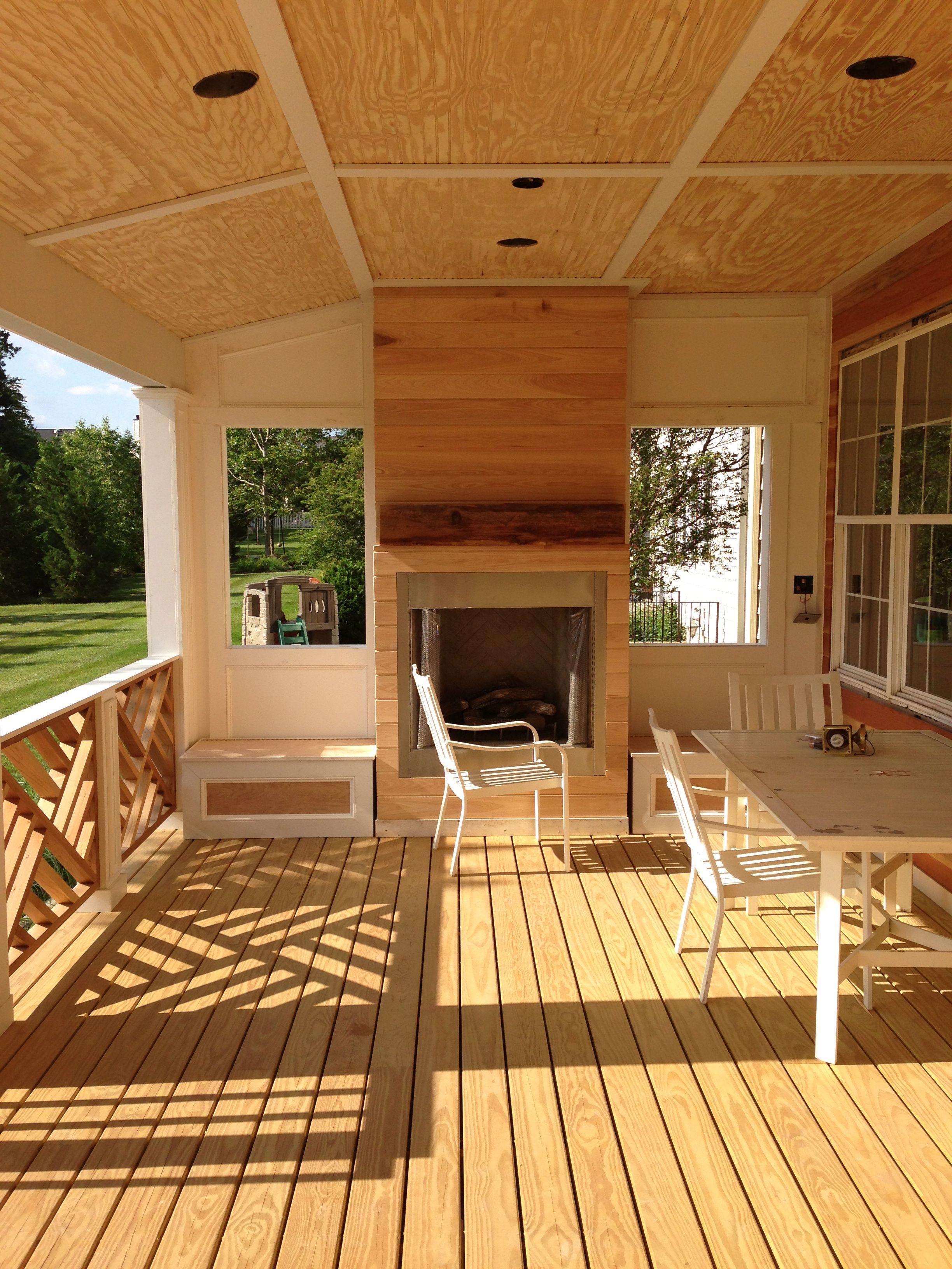 railing fireplace deck patio Pinterest