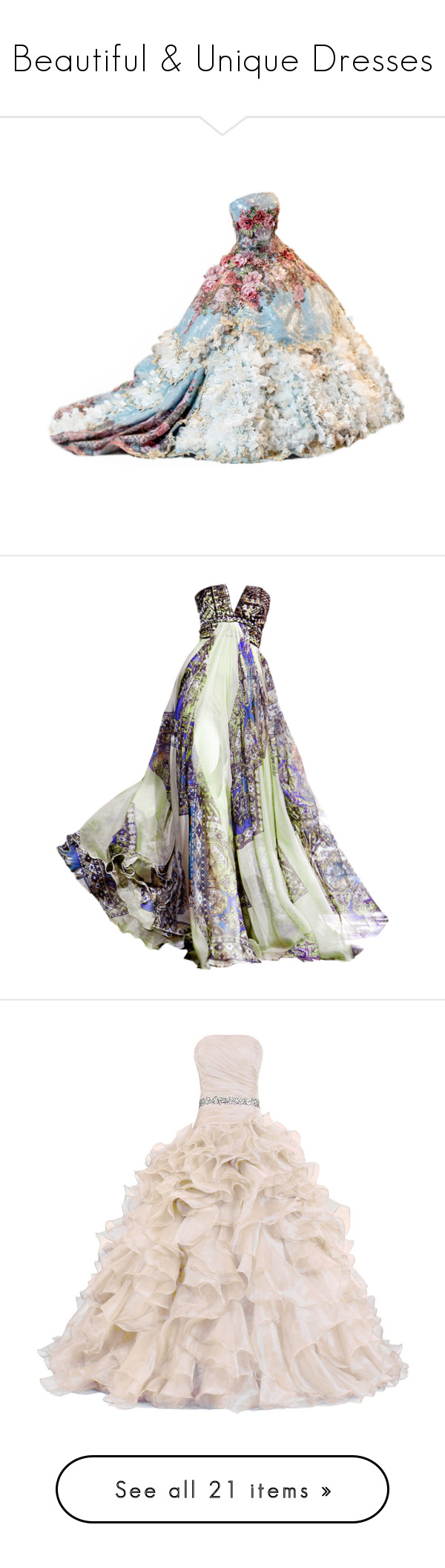 """""""Beautiful & Unique Dresses"""" by reignie on Polyvore featuring dresses, gowns, satinee, edited, long dresses, vestidos, zuhair murad gowns, zuhair murad dresses, zuhair murad evening gowns and zuhair murad"""