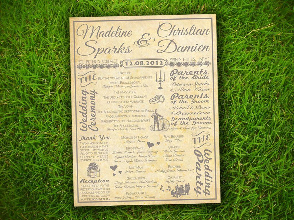 Vintage Classic Rustic Steampunk Wedding Program Card Diy