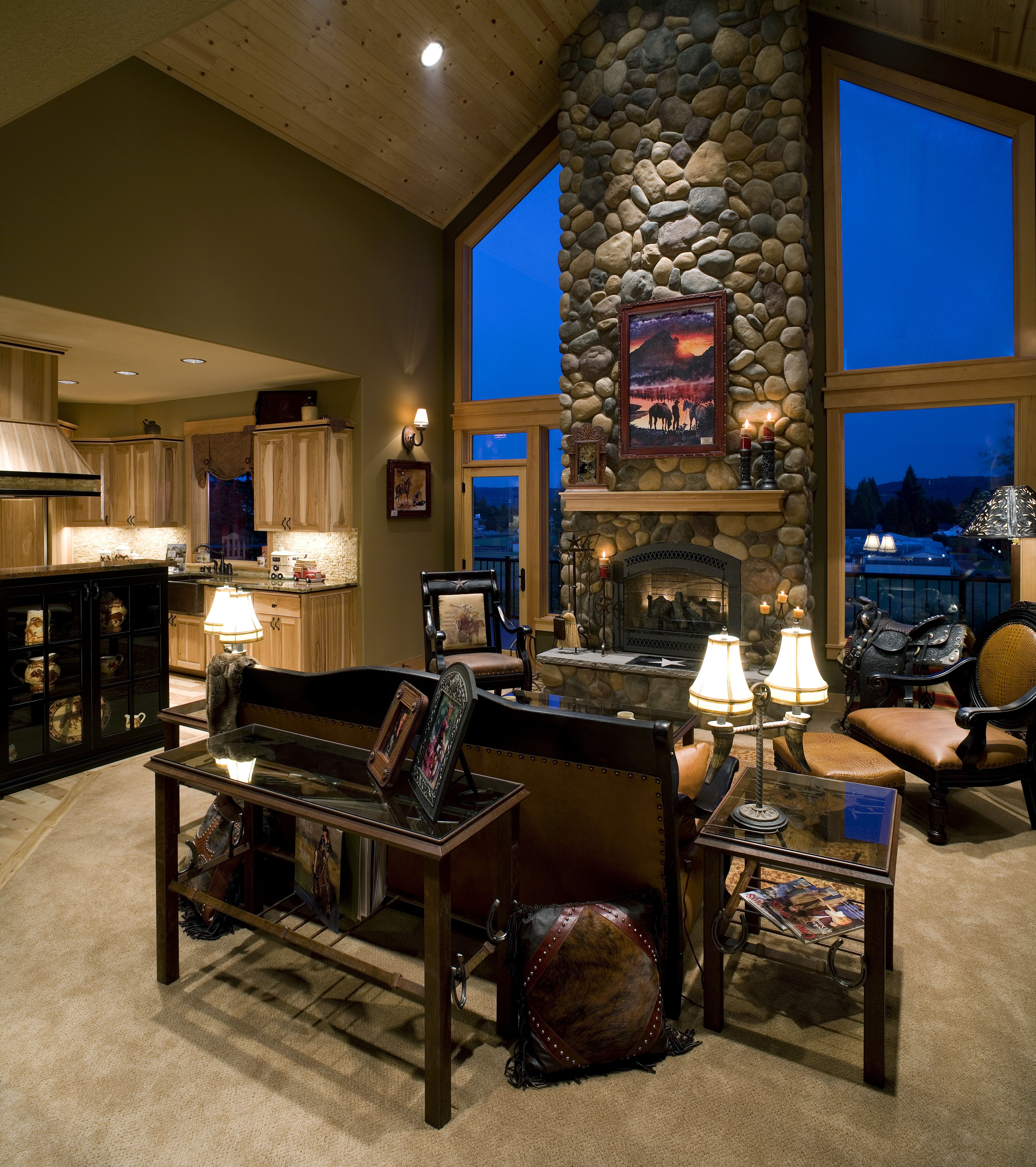 Vaulted Living Room Floor Plans: A Gorgeous River Rock Fireplace Wall With Large Windows