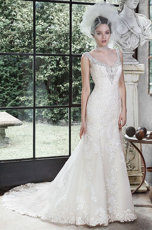 This Sophisticated Lace And Tulle A Line Wedding Dress Is Sweetened