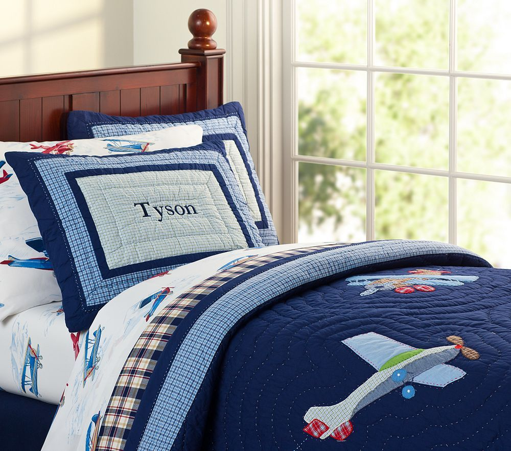 Pottery barn kids plane bedding big boy bedroom ideas for Airplane bedroom ideas