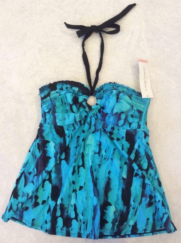 e99752640e Liz Lange Maternity Small Tankini Swimsuit Top Smocked Halter Turquoise NWT  #LizLangeMaternity #TankiniTop