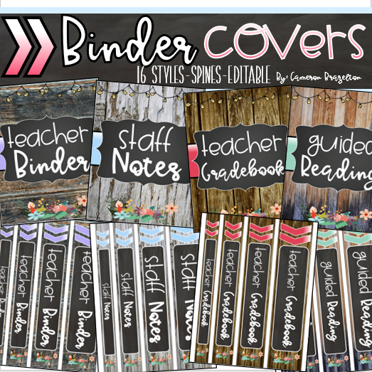 Editable Binder Covers And Spines Teacher Planner Rustic