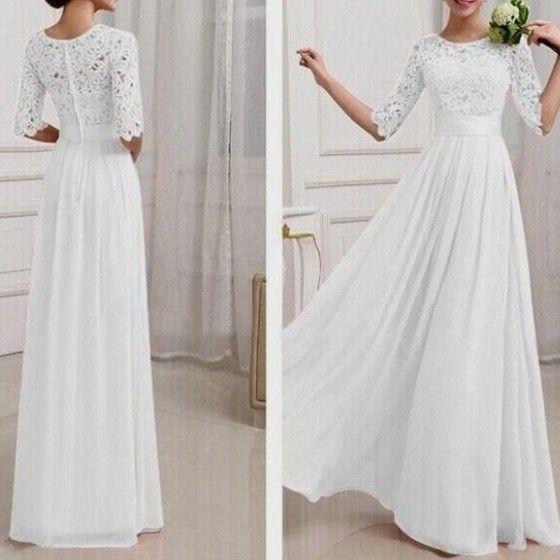 Weiß Damen Langarm Spitze MaxiKleid Lange Abendkleid Elegante ...