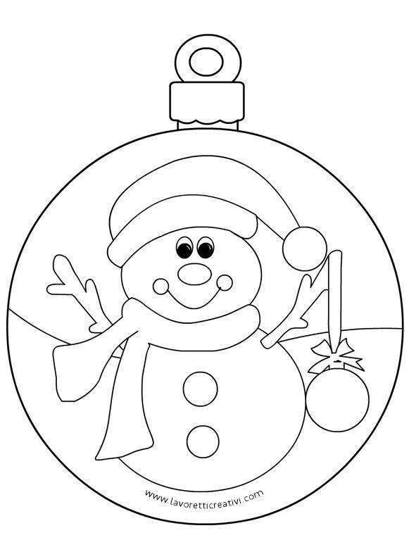 Pallina Pupazzo Neve 2 Colori Di Natale Ricamo Natalizio
