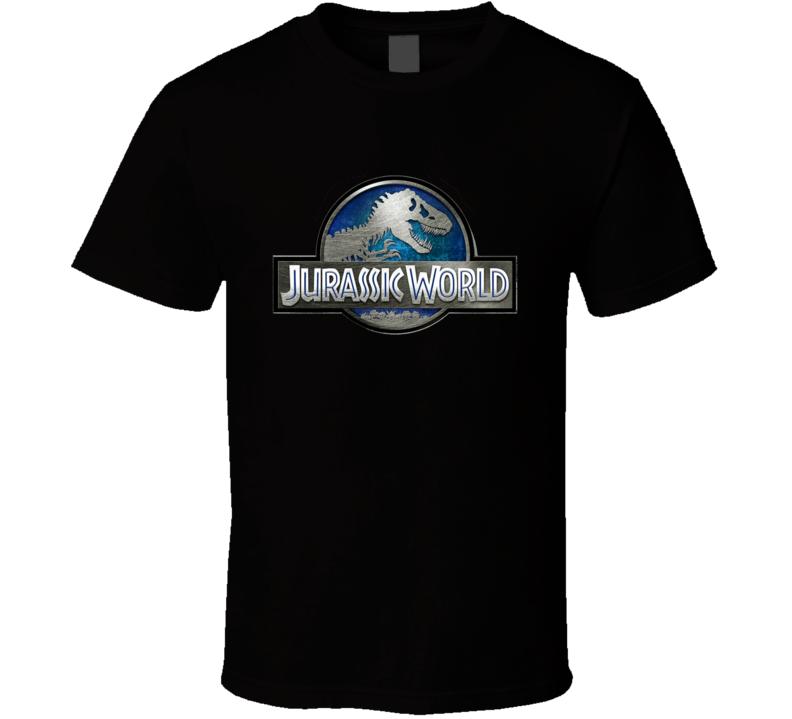 Jurassic World Park Sign Movie Logo Metal Look T Shirt