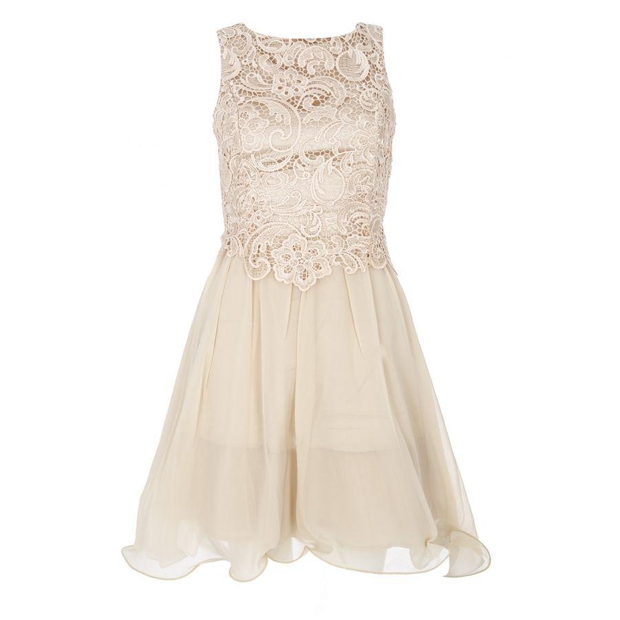 Champagne lace open back dress quiz clothing dresses pinterest