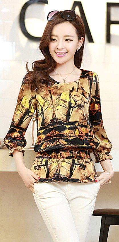 Asian Printed Half Sleeve Top YRB0662